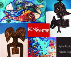 """Vernissage de l'exposition """"Rencontre"""" de Sylvie Roufart et Placide Akoe"""